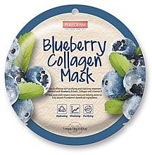 Düfte, Parfümerie und Kosmetik Tuchmaske für das Gesicht mit Kollagen und Blaubeeren - Purederm Blueberry Collagen Mask