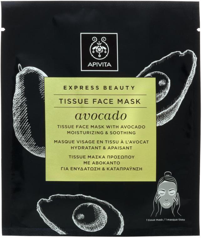 Feuchtigkeitsspendene und beruhigende Tuchmaske mit Avocadoöl - Apivita Express Beauty Tissue Face Mask Avocado — Bild N1