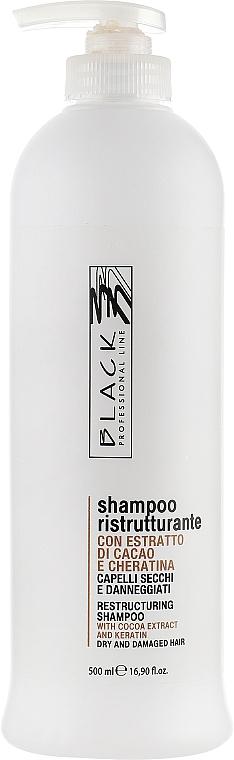 Restrukturierendes Shampoo mit Kakao-Extrakt und Keratin - Black Professional Line Chocolate & Keratin Shampoo — Bild N1