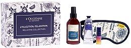Düfte, Parfümerie und Kosmetik Gesichtspflegeset - L'Occitane Relaxing Collection (Öl-Serum 5ml + Spray 100ml + Handcreme 30ml + Schlafmaske 1St.)