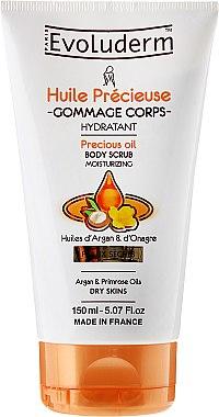 Feuchtigkeitsspendendes Körperpeeling mit Argan- und Nachtkerzenöl für trockene Haut - Evoluderm Precious Oil Moisturizing Body Scrub — Bild N1