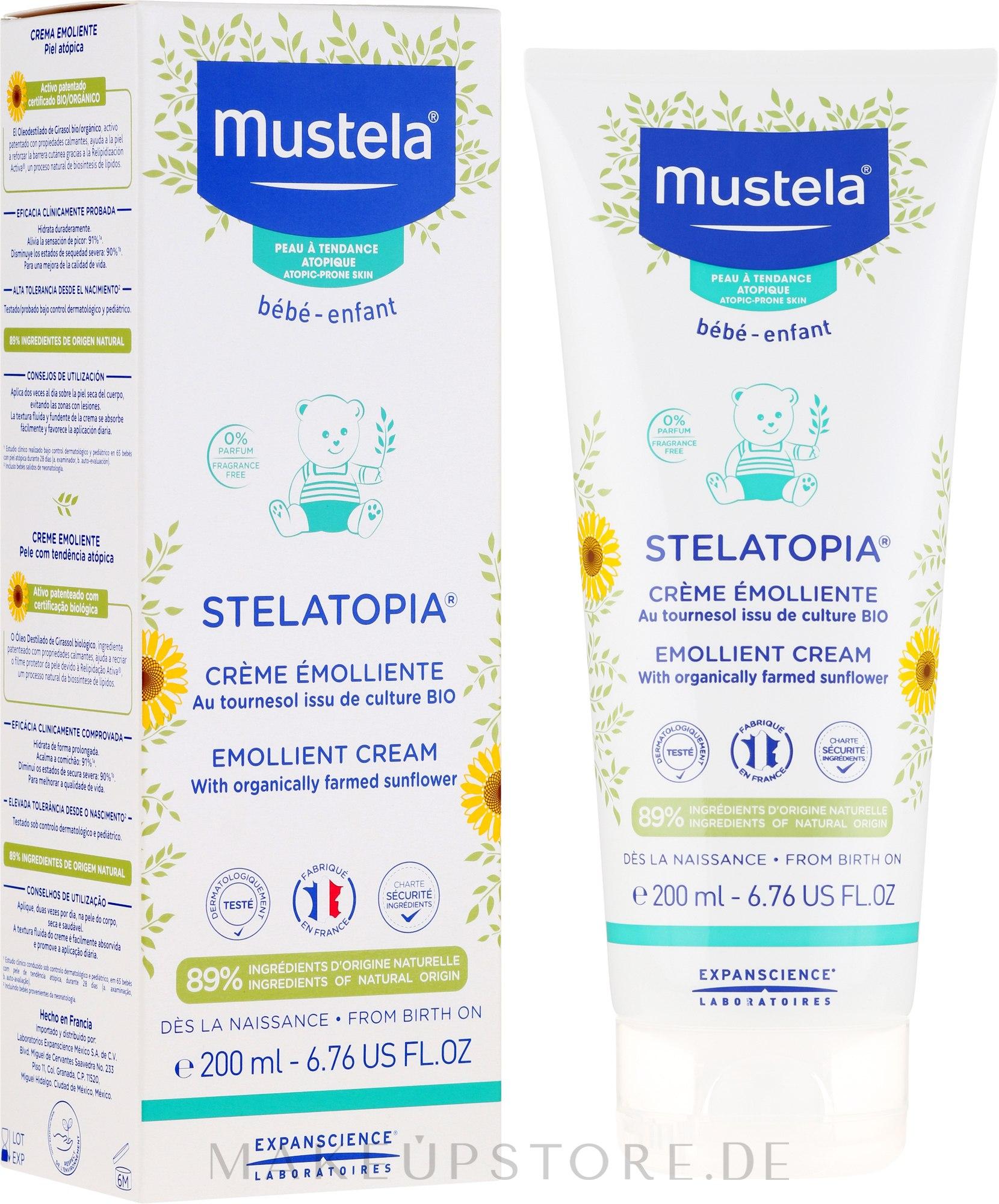 Baby- und Kindercreme für trockene und atopische Haut mit Sonnenblumenöl - Mustela Stelatopia Emollient Cream With Sunflower — Bild 200 ml