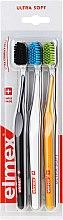Düfte, Parfümerie und Kosmetik Zahnbürste ultra weich Swiss Made schwarz, gelb, weiß 3 St. - Elmex Swiss Made