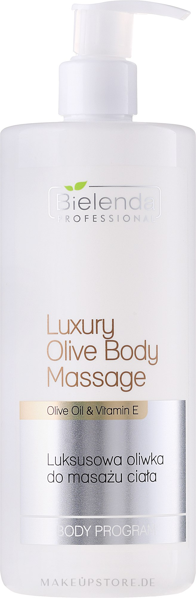 Körpermassageöl mit Vitamin E und Olivenöl - Bielenda Professional Body Program Luxury Olive For Body Massage — Bild 500 ml
