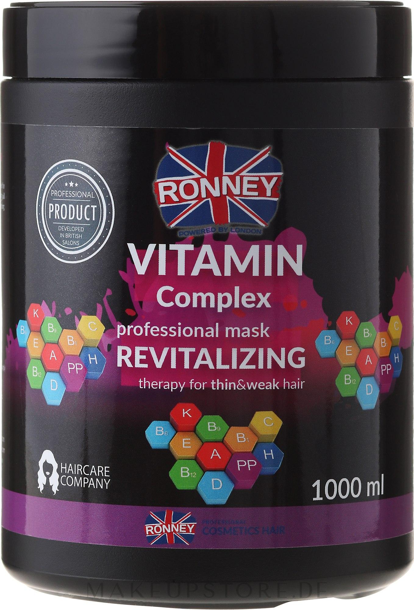 Revitalisierende Haarmaske mit Vitaminkomplex für dünnes und schwaches Haar - Ronney Vitamin Complex Revitalizing Therapy Mask — Bild 1000 ml