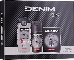 Düfte, Parfümerie und Kosmetik Denim Black - Kosmetikset (After Shave Lotion 100ml + Deospray 150ml + Duschgel 250ml)