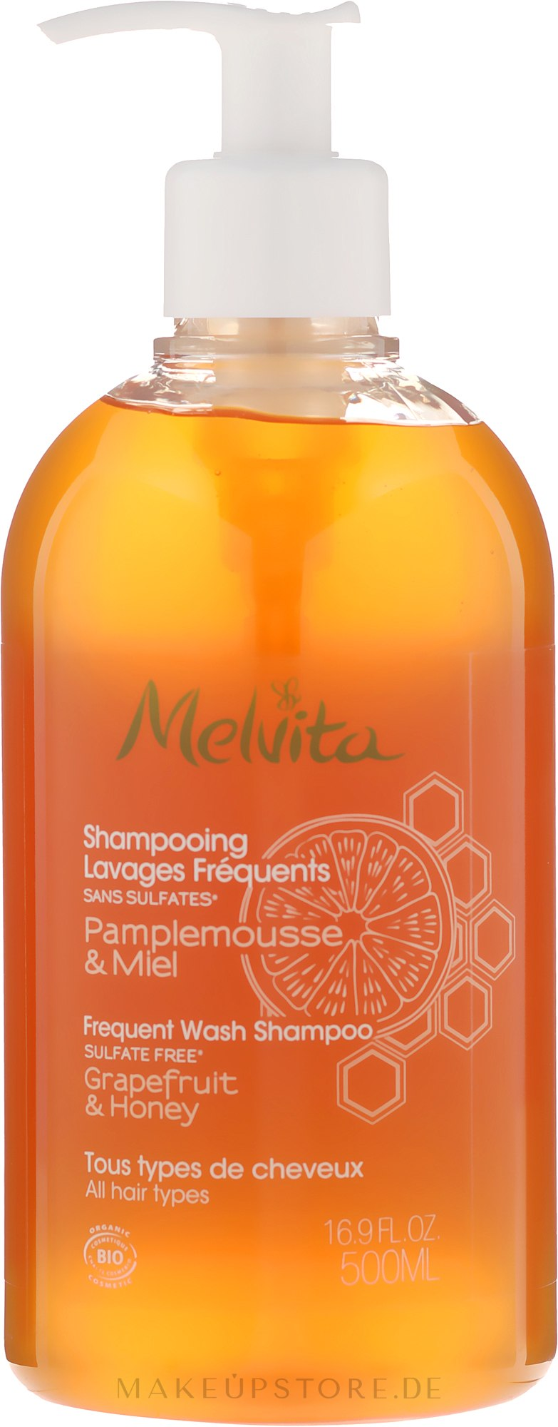 Mildes Basis-Shampoo für alle Haartypen - Melvita Frequent Wash Shampoo — Bild 500 ml