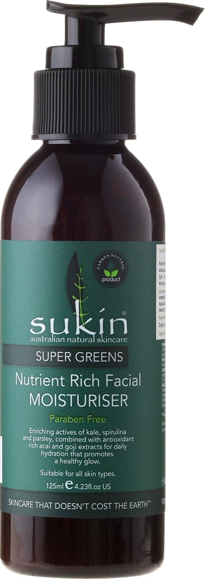 Feuchtigkeitsspendende Gesichtscreme mit Avocado- und Jojobaöl - Sukin Super Greens Facial Moisturiser — Bild 125 ml