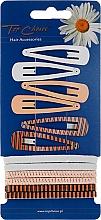Düfte, Parfümerie und Kosmetik Haarschmuck-Set Beauty Collection 28205 6+6 St. beige - Top Choice (Haarspangen + Haargummis)