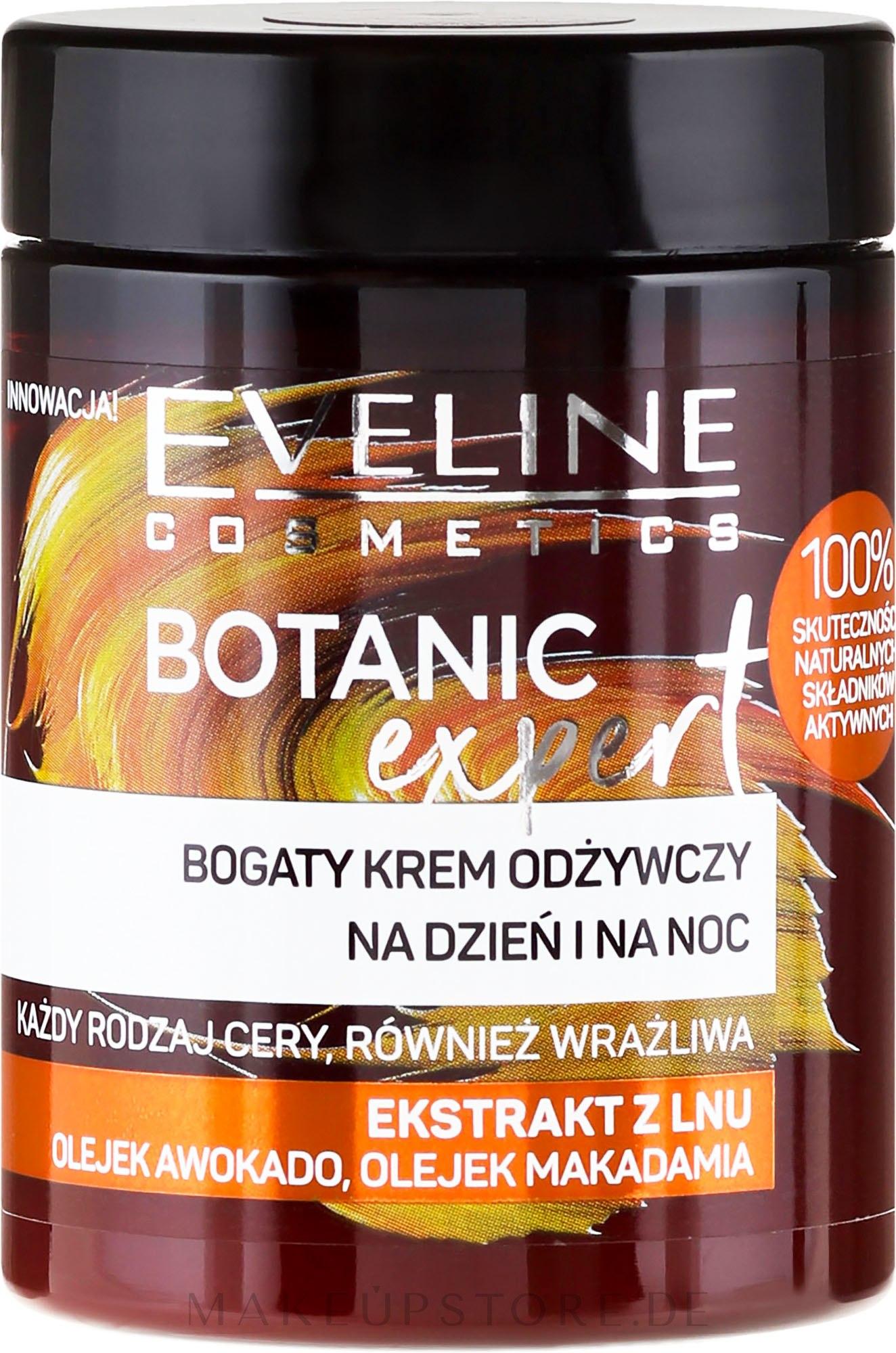 Reichhaltige und pflegende Tages- und Nachtcreme mit Flachs-Extrakt, Avocado- und Macadamiaöl - Eveline Cosmetics Botanic Expert Len Day & Night Cream — Bild 100 ml