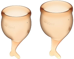 Düfte, Parfümerie und Kosmetik Menstruationstasse mit Schwänzchen orange 2 St. - Satisfyer Feel Secure Menstrual Cups