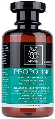 Ausgleichendes Shampoo für sehr fettiges Haar mit Pfefferminze und Propolis - Apivita Propoline Balancing Shampoo For Very Oily Hair — Bild N1