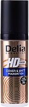 Langanhaltende mattierende Grundierung mit hoher Deckkraft - Delia HD Cover & Matt Foundation — Bild N2