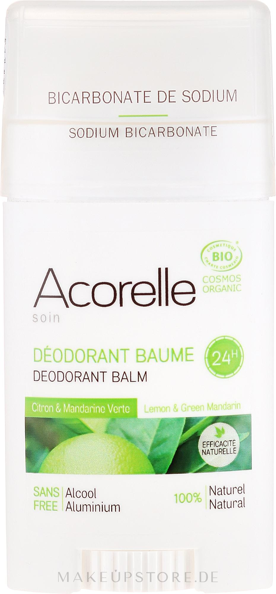 Bio Deostick mit Zitrone und grüner Mandarine - Acorelle Deodorant Balm — Bild 40 g