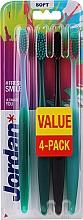 Düfte, Parfümerie und Kosmetik Zahnbürste weich Ultimate You grün-rosa, grün, schwarz-orange, grün-orange 4 St. - Jordan Ultimate You Soft Toothbrush