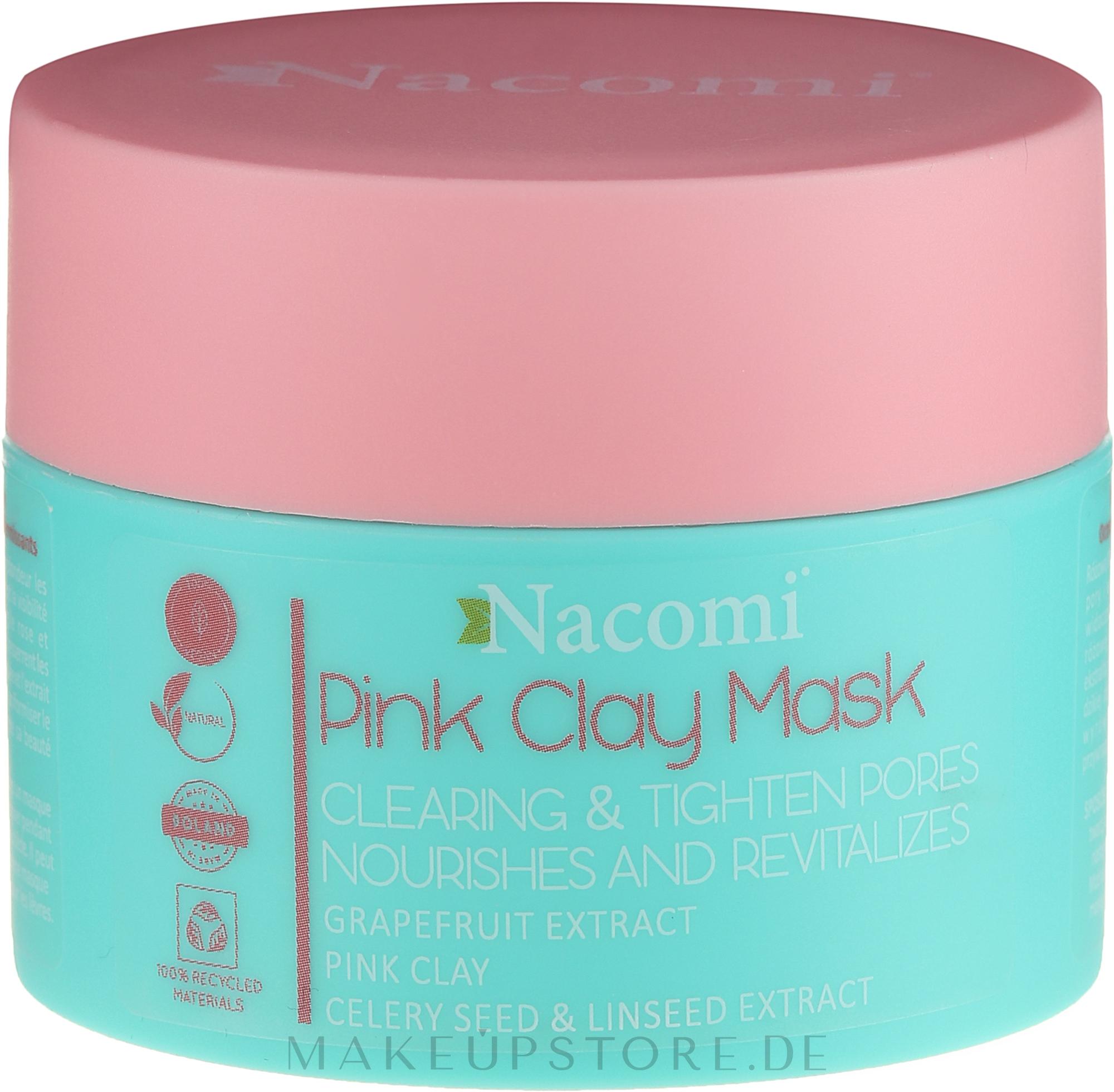 Straffende Gesichtsmaske mit rosa Ton - Nacomi Pink Clay Mask — Bild 50 ml