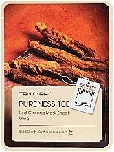 Düfte, Parfümerie und Kosmetik Beruhigende und aufhellende Tuchmaske mit Ginseng-Extrakt - Tony Moly Pureness 100 Red Ginseng Mask Sheet