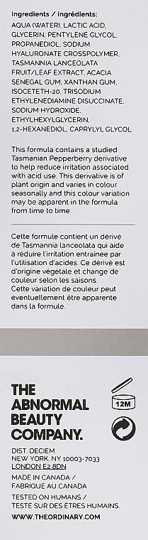 Peeling-Serum für das Gesicht mit Hyaluron- und Milchsäure - The Ordinary Lactic Acid 5% + HA 2% — Bild N3