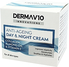 Düfte, Parfümerie und Kosmetik Anti-Aging Gesichtscreme für Tag und Nacht mit Kolagen, Mandelöl und Vitamin E - Derma V10 Innovations Anti-Ageing Day & Night Cream