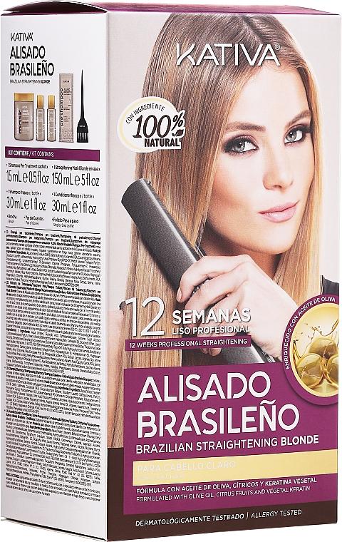 Haarpflegeset - Kativa Alisado Brasileno Straighten Blonde (Shampoo 15ml + Haarmaske 150ml + Shampoo 30ml + Conditioner 30ml)