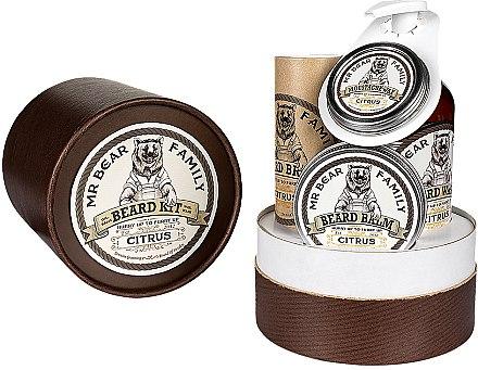 Bartpflege Set - Mr. Bear Family Citrus (Bartöl 30ml + Bartshampoo 250ml + Schnurrbartwachs 30ml + Bartbalsam 60ml) — Bild N1