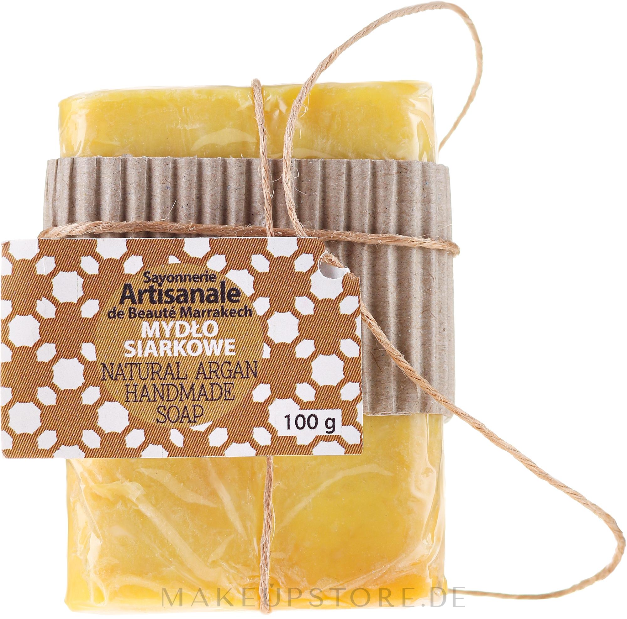Handgemachte natürliche Schwefelseife mit Arganöl - Beaute Marrakech Natural Argan Handmade Soap — Bild 100 g