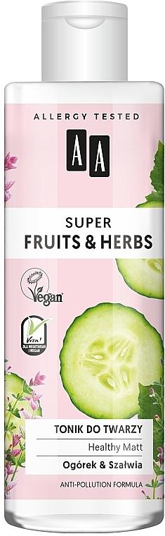 Beruhigendes Gesichtstonikum mit Gurke und Salbei für empfindliche Haut - AA Super Fruits & Herbs Healthy Matt
