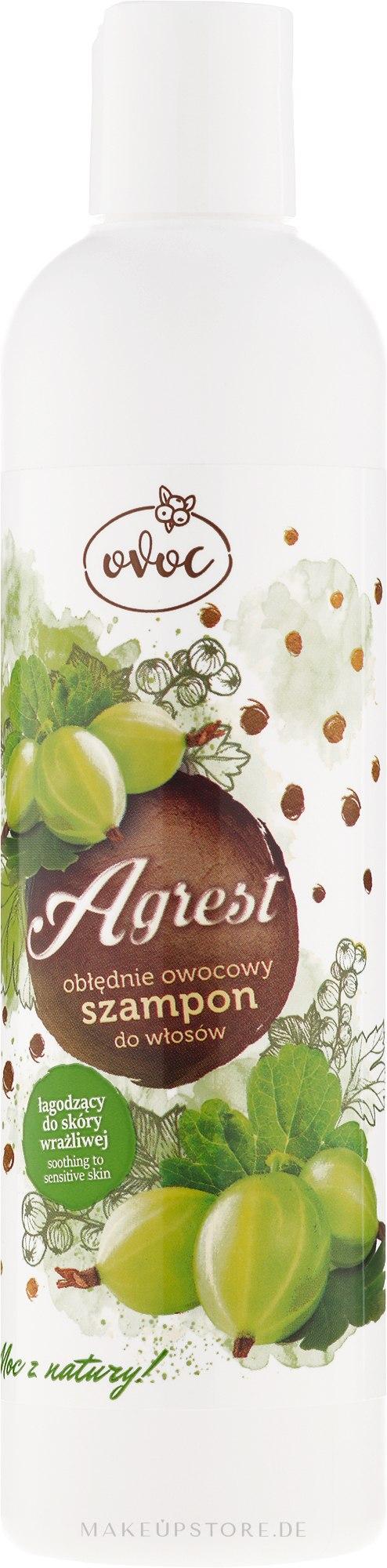 Beruhigendes Shampoo für empfindliche Kopfhaut mit Extrakt aus Feigen, Algen und Sheabutter - Ovoc Gooseberry Shampoo — Bild 300 ml