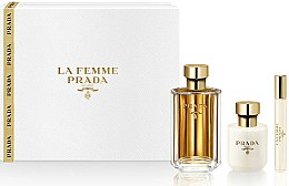 Düfte, Parfümerie und Kosmetik Prada La Femme Prada - Duftset Eau de Parfum 100ml + Körperlotion 100ml + Eau de Parfum (Roll-on) 10ml)