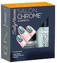 Düfte, Parfümerie und Kosmetik Set - Sally Hansen Salon Chrome Gunmetal (chrome powder/1g + top coat/5ml + applicator)