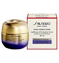 Düfte, Parfümerie und Kosmetik Straffende und festigende Anti-Aging Tagescreme gegen Falten und Pigmentflecken mit UV-Schutz SPF 30 - Shiseido Vital Perfection Uplifting and Firming Day Cream SPF 30