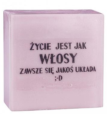 Handgemachte Naturseife mit Kirschduft - LaQ Short Message Soap: Das Leben ist wie Haar...es klappt immer irgendwie ;-D Natural Soap — Bild N1