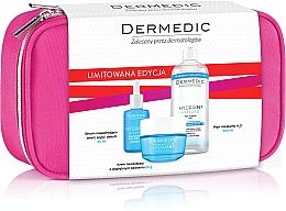 Düfte, Parfümerie und Kosmetik Gesichtspflegeset - Dermedic Hydrain 3 (Serum 30ml + Creme 50ml + Mizellenwasser 500ml + Kosmetiktasche)