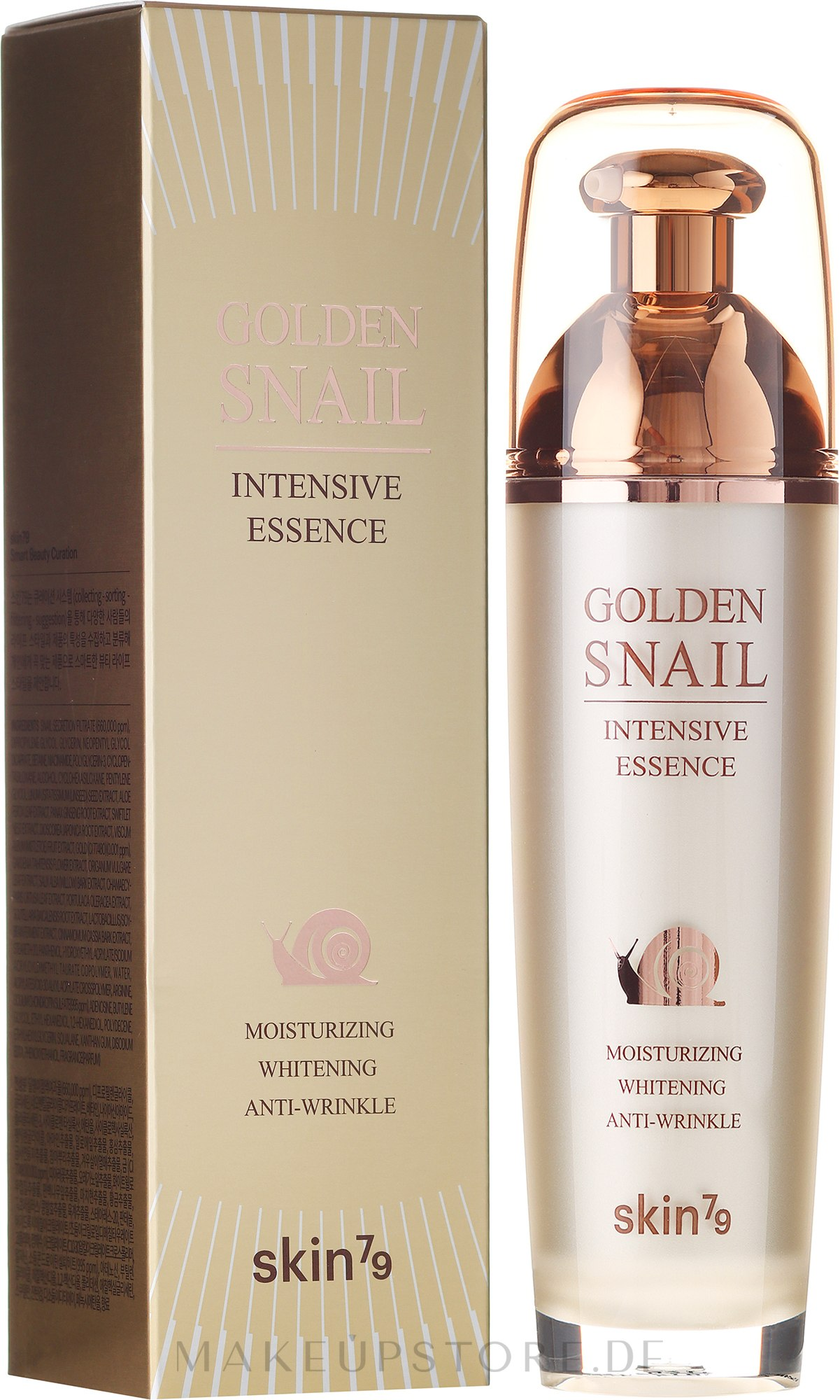 Feuchtigkeitsspendende, aufhellende und verjüngende Gesichtsessenz mit Schneckenschleimextrakt - Skin79 Golden Snail — Bild 40 ml