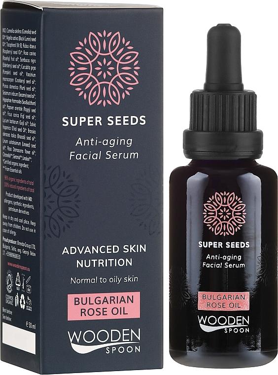 Anti-Aging Gesichtsserum mit bulgarischem Rosenöl - Wooden Spoon Super Seeds Bulgarian Rose Oil Anti-aging Facial Serum