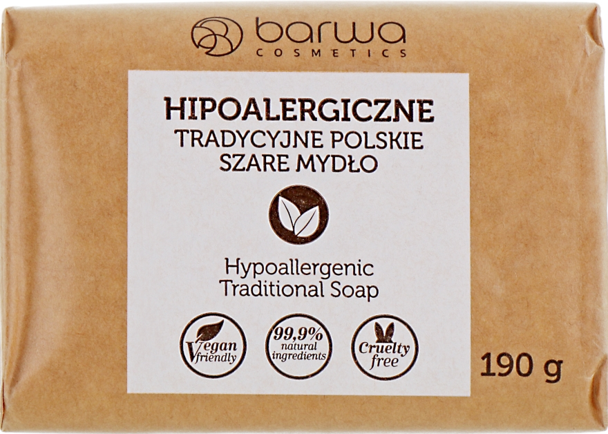 Hypoallergene traditionelle polnische graue Seife aus Palmöl - Barwa Natural Soap