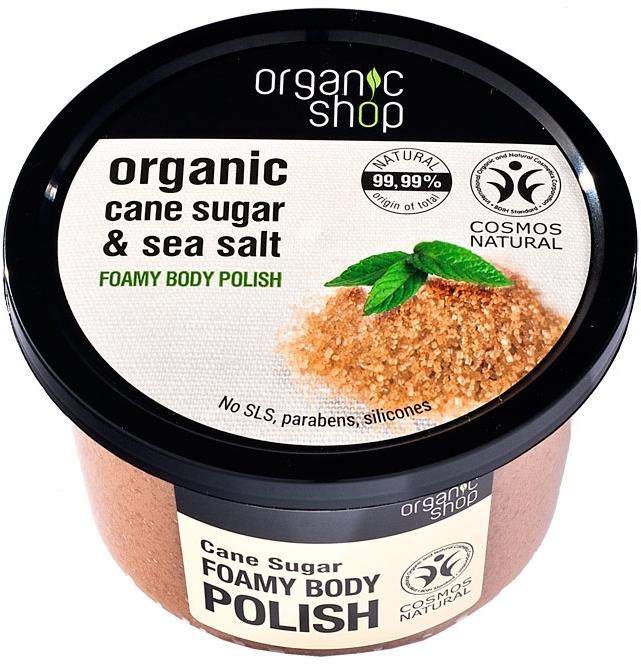 Körperpeeling mit Bio braunem Zucker und Meersalz - Organic Shop Foamy Body Scrub Organic Cane Sugar & Sea Salt — Bild N1