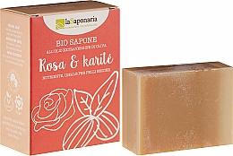 Düfte, Parfümerie und Kosmetik Pflegende Bio Seife mit Rose und Sheabutter für trockene und empfindliche Haut - La Saponaria Rose & Shea Butter Soap