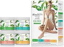 Düfte, Parfümerie und Kosmetik Körperpflegeset mit Teebaumextrakt - IBD Spa Pro Pedi Tea Tree Purify Spa Intro Kit (Fußbadesalz 180g + Peeling 180g + Maske 120ml + Lotion 124ml)
