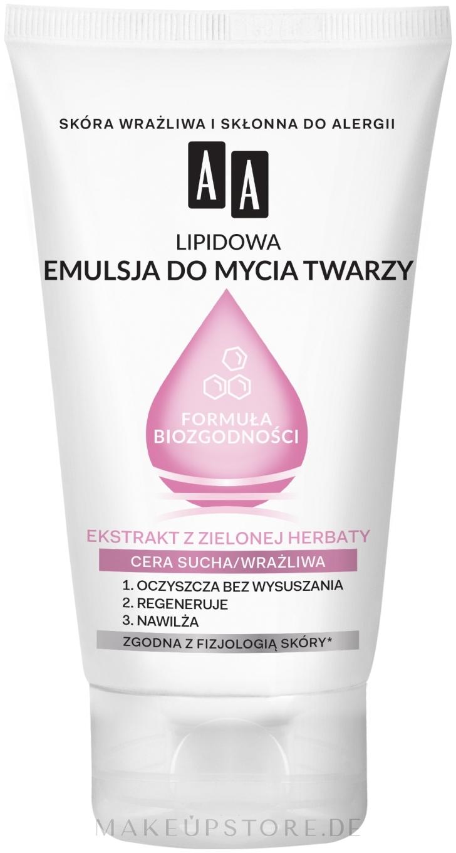 Gesichtsreinigungsemulsion mit Lipiden und Grüntee-Extrakt für trockene und empfindliche Haut - AA Biocompatibility Formula — Bild 150 ml