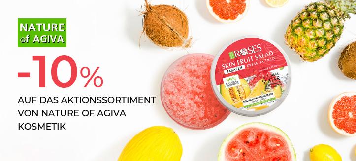 10% Rabatt auf das Aktionssortiment von Nature of Agiva Kosmetik. Die Preise auf der Website sind inklusive Rabatt