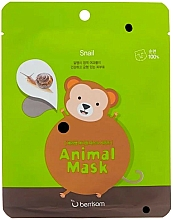 Düfte, Parfümerie und Kosmetik Tuchmaske mit Schneckenmuzin, Ceramiden und Gletscherwasser - Berrisom Animal Mask Snail Series Monkey