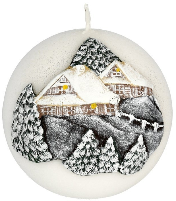 Dekorative Kerze Winter House - Artman Christmas Candle Winter House Ø10cm — Bild N1