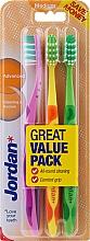 Düfte, Parfümerie und Kosmetik Zahnbürste mittel Advanced lila, gelb-orange, grün 3 St. - Jordan Advanced Medium Toothbrush