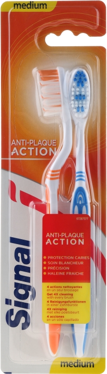 Zahnbürste mittel Anti-Plaque Action orange, blau 2 St. - Signal Anti-Plaque Duo — Bild N1