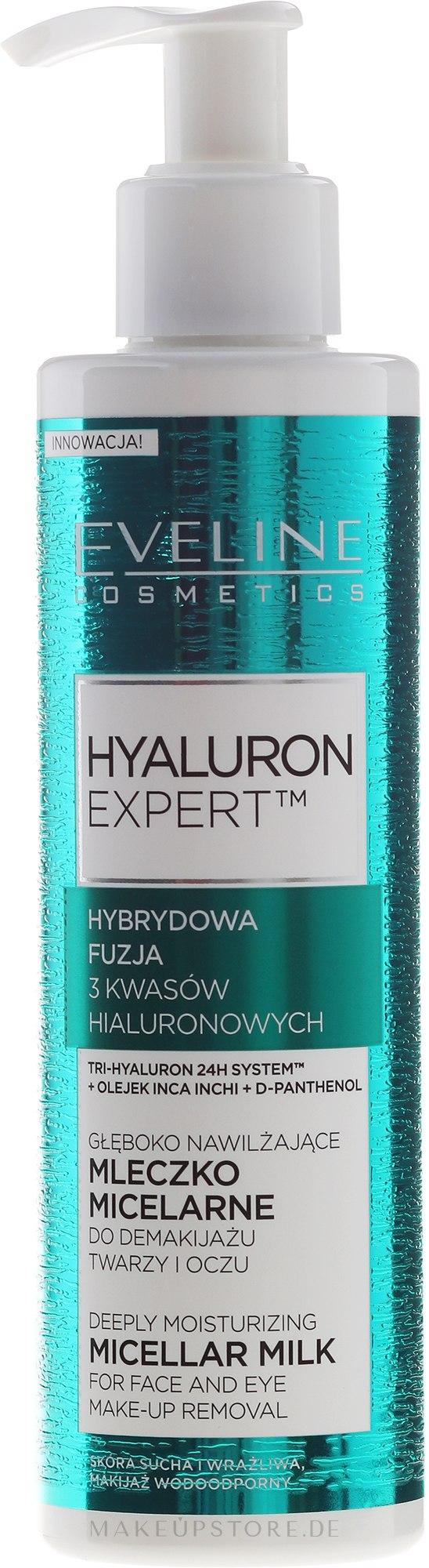 Tief feuchtigkeitsspendende mizellare Gesichtsmilch - Eveline Cosmetics Hyaluron Expert — Bild 200 ml