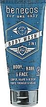 Düfte, Parfümerie und Kosmetik 3in1 Duschgel für Gesicht, Körper und Haar - Benecos For Men Only Body Wash 3in1