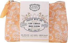 Düfte, Parfümerie und Kosmetik Körperpflegeset - Panier des Sens Orange Blossom Week-End Set (Duschgel 70ml + Körperlotion 70ml + Handcreme 30ml + Kosmetiktasche)