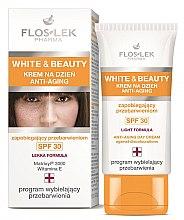 Düfte, Parfümerie und Kosmetik Aufhellende Anti-Aging Gesichtscreme gegen Pigmentflecken SPF 30 - Floslek White & Beauty Anti-Aging Day Cream SPF 30