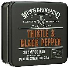 Düfte, Parfümerie und Kosmetik Stärkendes und glättendes festes Shampoo mit Distelsamenöl und Weizenprotein - Scottish Fine Soaps Mens Grooming Thistle & Black Pepper Shampoo Bar